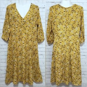Mustard Yellow Dress with Floral Print sz M